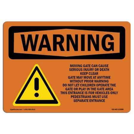 OSHA WARNING Sign - Moving Gate Can Cause Serious Injury  | Choose from: Aluminum, Rigid Plastic or Vinyl Label Decal | Protect Your Business, Work Site, Warehouse & Shop (Can Females Work In Warehouses)