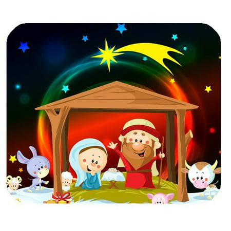 MKHERT Christmas Nativity And Cute Animals Rectangle Mousepad Mat For Mouse Mice Size 9.84x7.87 inches (Nativity Animals)