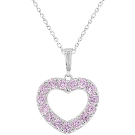 925 Sterling Silver Pink CZ Open Heart Pendant Necklace Girl Teens