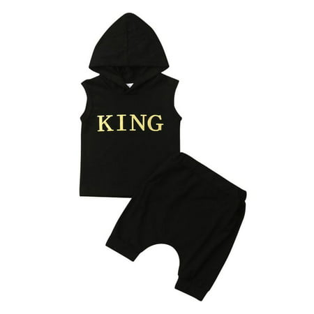 Newborn Infant Toddler Baby Boy Gold King Letter Hoodie Top Short Pants Outfits Clothes Set