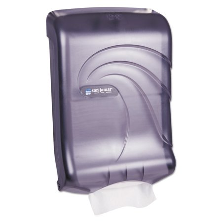 Fold Multifold Towel Dispenser - San Jamar Ultrafold Multifold/C-Fold Towel Dispenser, Oceans, Black, 11 3/4 x 6 1/4 x 18 -SJMT1790TBK