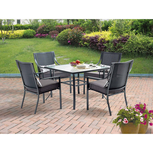 High Quality Mainstays Alexandra Square 5 Piece Patio Dining Set, Grey With Leaves,  Seats 4