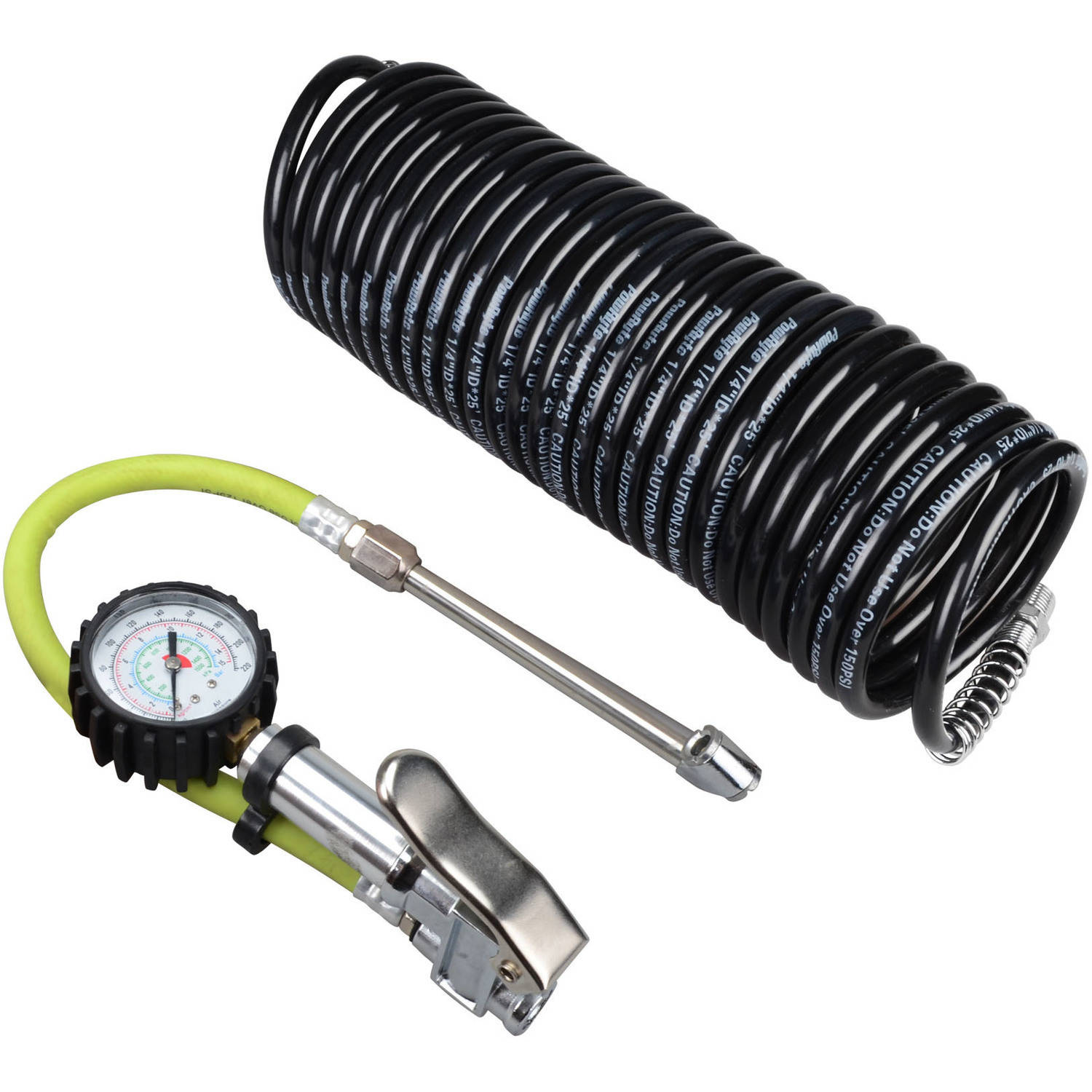 PowRyte Dual Chuck Air Tire Inflator with Dial Tire Gauge 10-220 PSI and Recoil Air Hose Kit 5001130