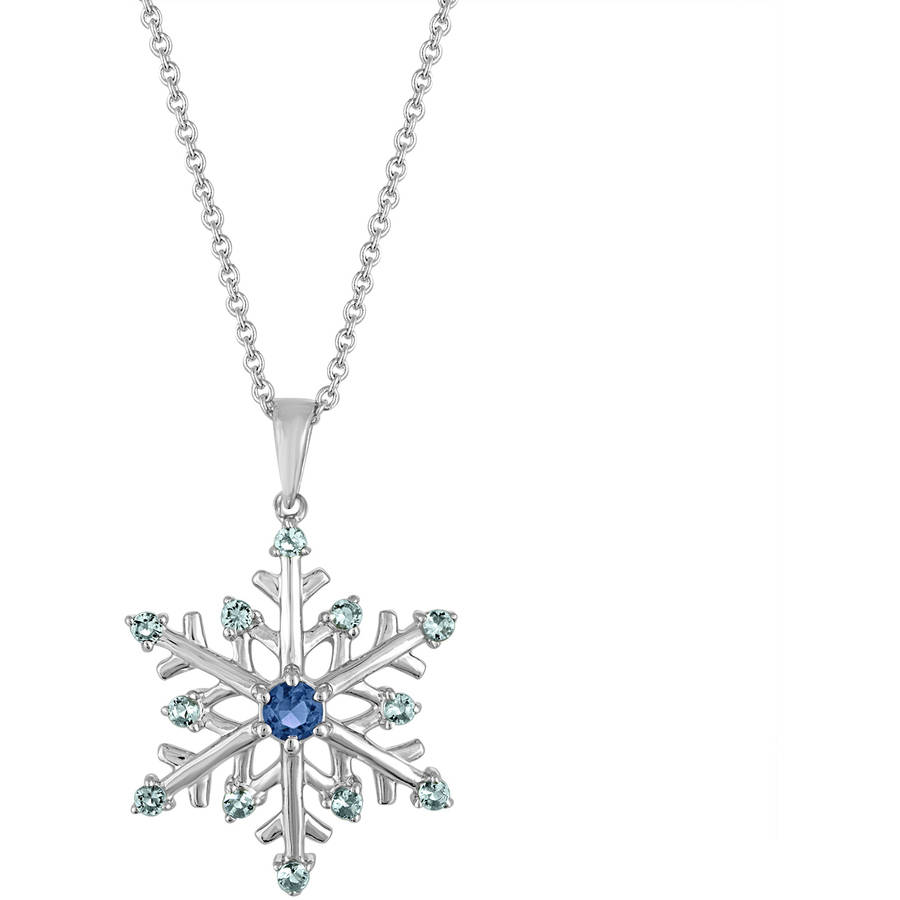 """Gemspirations Sterling Silver-Plated Simulated Blue Topaz with CZ Accents Snowflake Pendant, 18"""""""