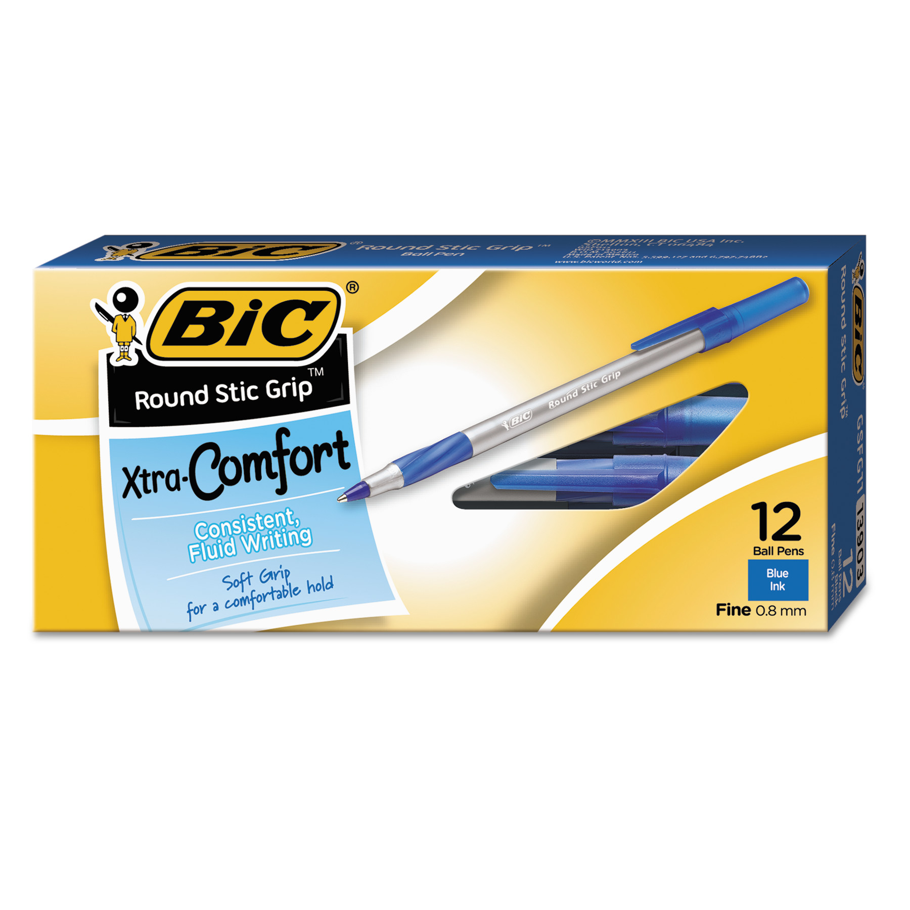 BIC Xtra Comfort Round Stic Grip Pens, 0.8 mm Fine Tip, Blue, 12 Count