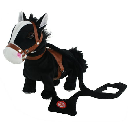 Black Pony Horse, Interactive Plush Toy. It Plays Walks and Shakes, It Plays a Western Cowboy Song and it Makes Horse Sounds! Makes a Great Gift for Kids, - Cowboy Stuff