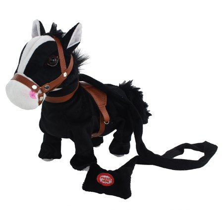 Black Pony Horse, Interactive Plush Toy. It Plays Walks and Shakes, It Plays a Western Cowboy Song and it Makes Horse Sounds! Makes a Great Gift for Kids, Children