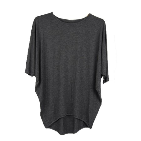 Luna Charcoal (Luna West Womens Charcoal Solid Color Dolman Sleeve Cocoon Tunic Top)