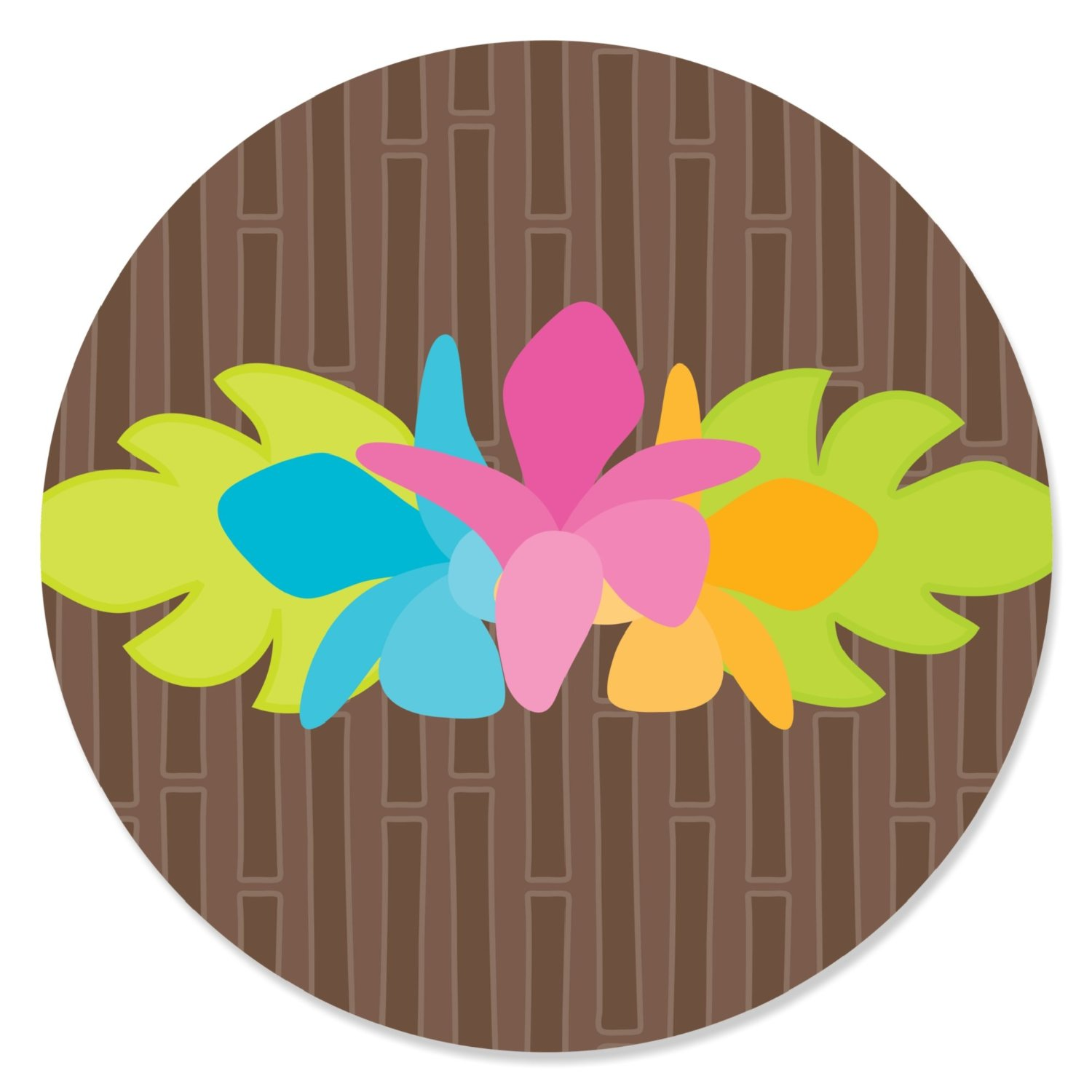 Luau - Party Circle Sticker Labels - 24 Count