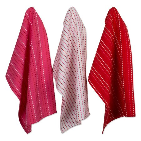 DII Hearts Dobby Stripe Dishtowel & Dishcloth (Set of 6), 100% Cotton Stripe Dish Cloth