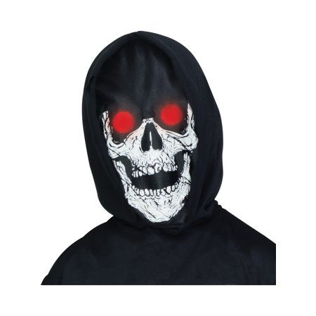 Adults Spooky Lite Up Skeleton Face Hooded Mask Costume Accessory](Spooky Masks)