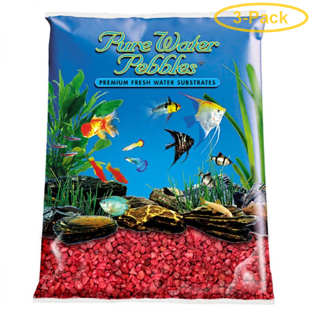 Pure Water Pebbles Aquarium Gravel - Currant Red 5 lbs (3.1-6.3 mm Grain) - Pack of 3