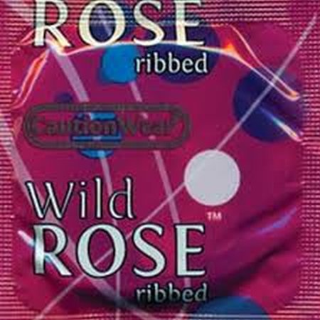 Wear Ribbed (Caution Wear Wild Rose Ribbed Lubricated Condoms (100)