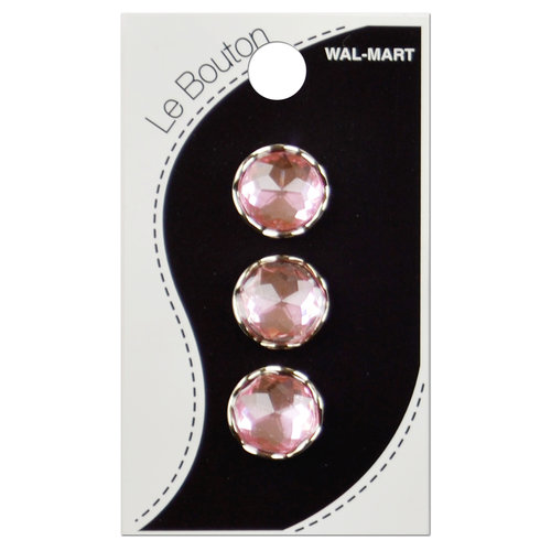Glitz Crystal Shank Button, Pink