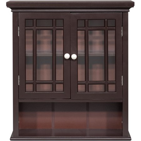 Elegant Home Fashions Heritage Wall Cabinet, Dark