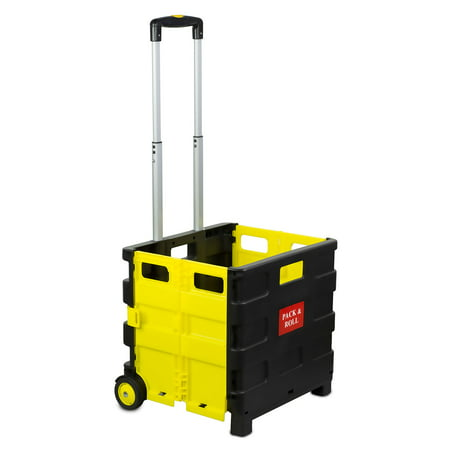 Image of Mount-It! Foldable Utility Cart with 55 LB Capacity, Crate on Wheels