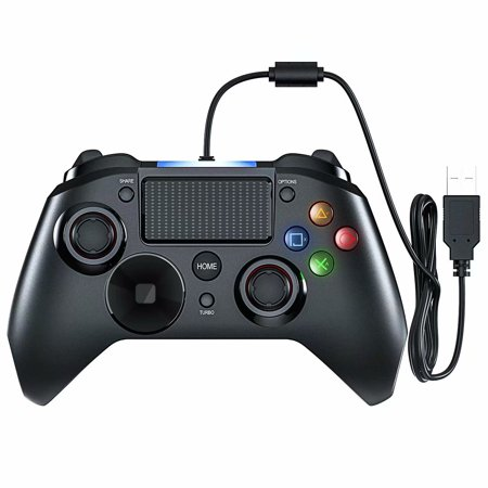 Mpow Wired Gaming Controller, PS4 Game Controller, USB Gamepad with Turbo and Trigger Buttons, Headset Jack, LED Light for PS4, PS4 Pro/Slim, PS3, Win7/8/10/XP, Android TV/Cellphone/Tablet (Six Button Ps3 Controller)