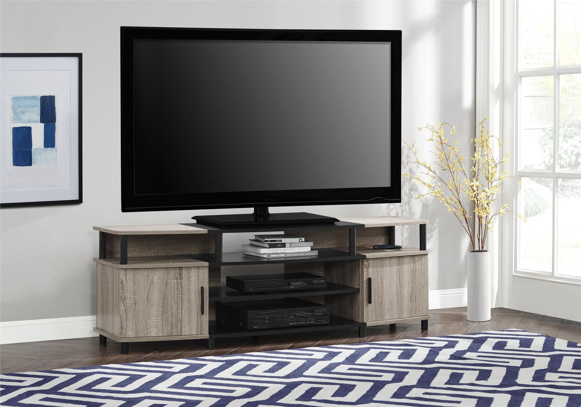 Carson Xl Black And Cherry Tv Stand For Tvs Up To 70 Sonoma Oak Walmart Com Walmart Com
