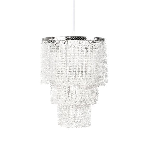 Tadpoles Pearlized Beaded Triple Layer Pendant Light Shade, White Pearl, Chandelier Style by Sleeping Partners