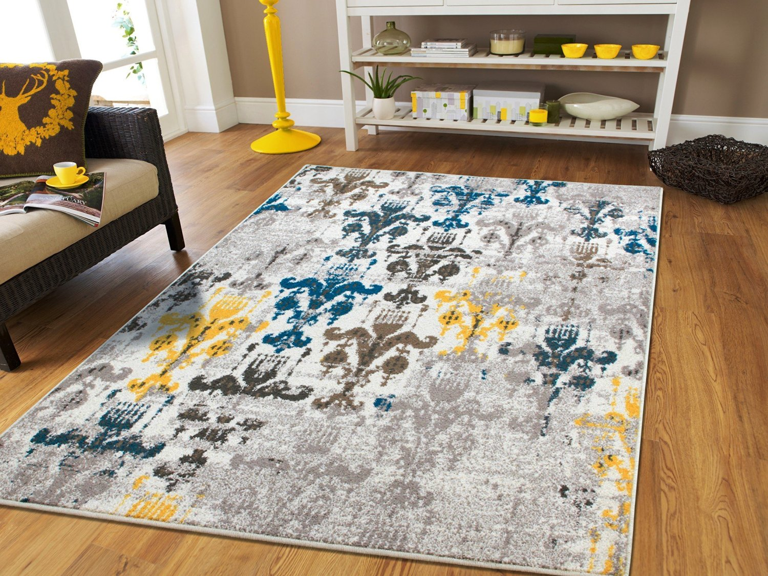 New Fashion Area Rugs Modern Yellow Beige Cream Grey 2x3 Rugs Western Faded  Rugs Style Abstract