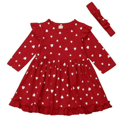 Kids Valentines Outfits (Baby Girls Long Sleeve Frilled Dress With Headband Valentine's Day Outfits 18-24)