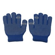 Girls Royal Blue Contrast Dotted Winter Gloves