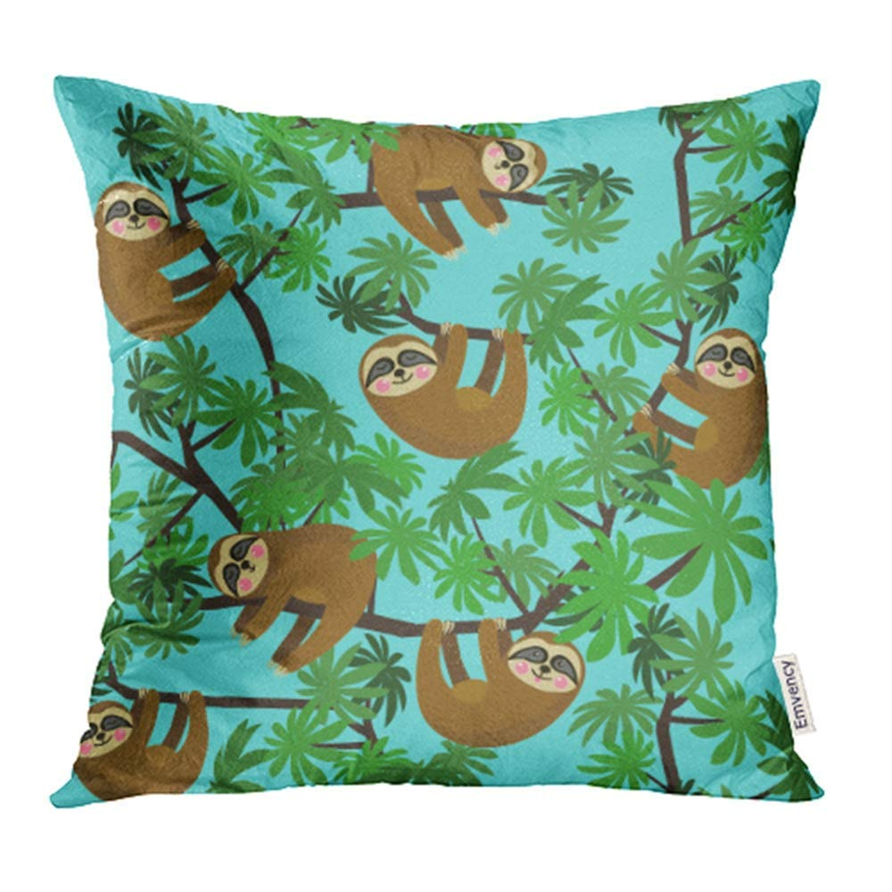 USART Gray Bear with Cute Jungle Sloths on Blue Green Kids Rainforest Tropical Animal Baby Pillow Case Pillow Cover 16x16 inch Throw Pillow Covers