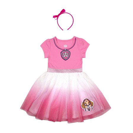 Paw Patrol Costume Tutu Dress with Headband (Toddler (Girls Sharpay's Pink Dress Costumes)