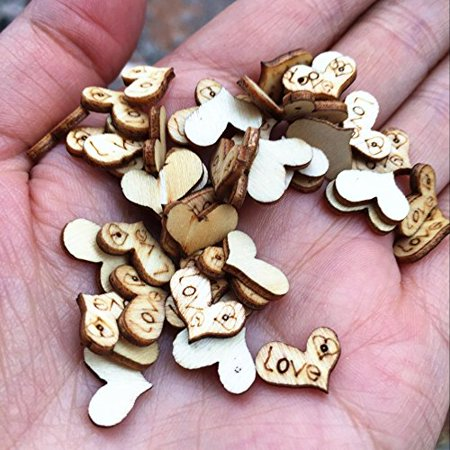 100pcs Wooden Love Heart Wedding Table Scatter Decoration Crafts Confetti