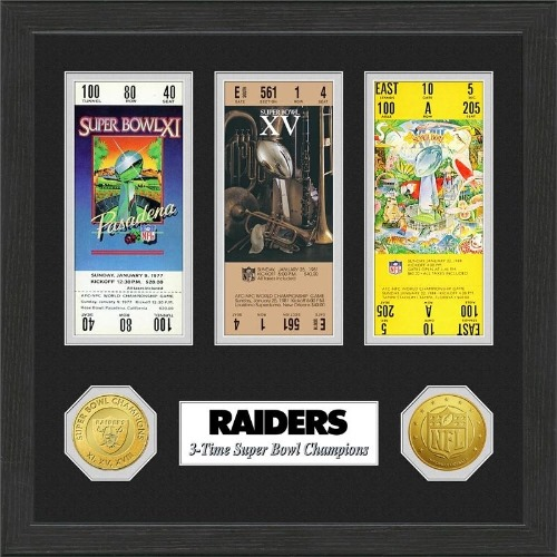 NFL Framed Wall Art by The Highland Mint, Oakland Raiders - Super Bowl Championship Ticket
