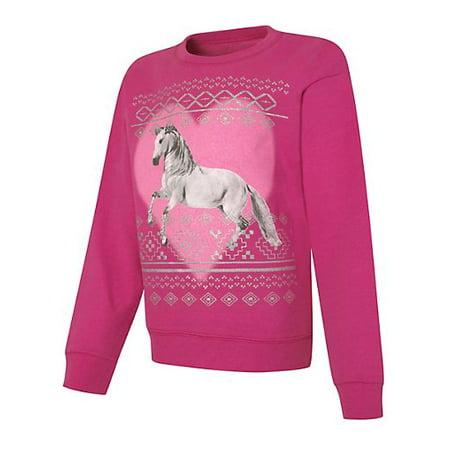 EcoSmart Girls' Young Wild Free Crewneck Sweatshirt (Wild Girl)