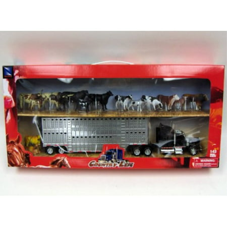 country life - kenworth livestock tractor trailer with 10 head of cattle - 1:43 scale Aluminum Livestock Trailer