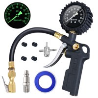 """AstroAI Tire Inflator with Pressure Gauge, 100 PSI Air Chuck and Compressor Accessories Heavy Duty with Large 2.5"""" Easy Read Glow Dial, Durable Rubber Hose and Quick Connect Coupler, Black"""