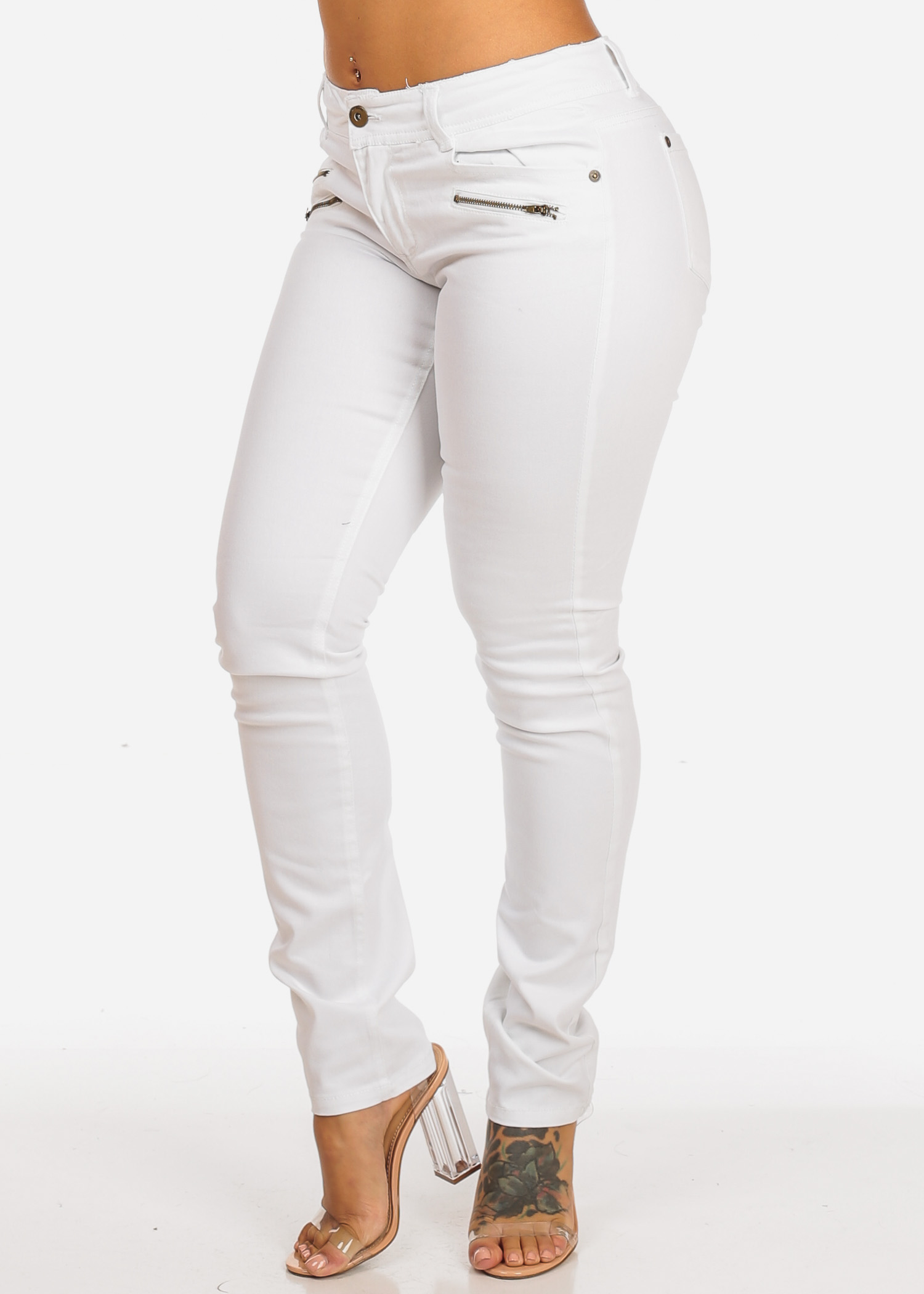 Womens Juniors Stylish Mid Rise One Button Size Zippers Solid White Skinny Jeans 10736M