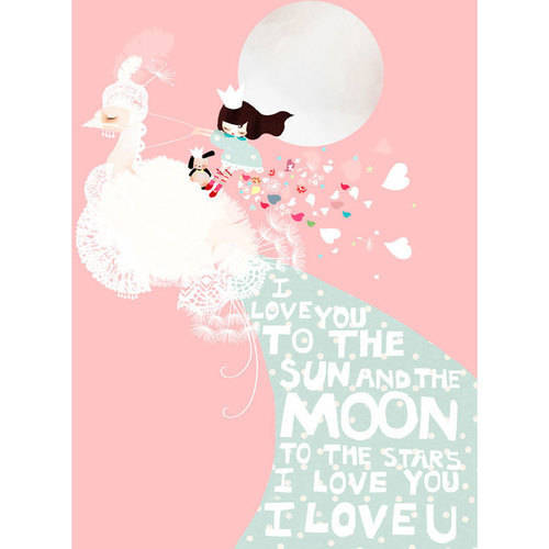 Oopsy Daisy - I Love You To the Sun And The Moon - Pink Canvas Wall Art 14x18, Schmooks