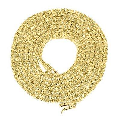 Jawa Jewelers Hip Hop Mens 14K Yellow Gold Finish 3MM 1 Row White Lab Diamond Chocker Tennis Link Chain 18 to 24 Inches