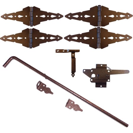 Wood Gate Hinges Latch Drop Rod Fence Double Kit 8