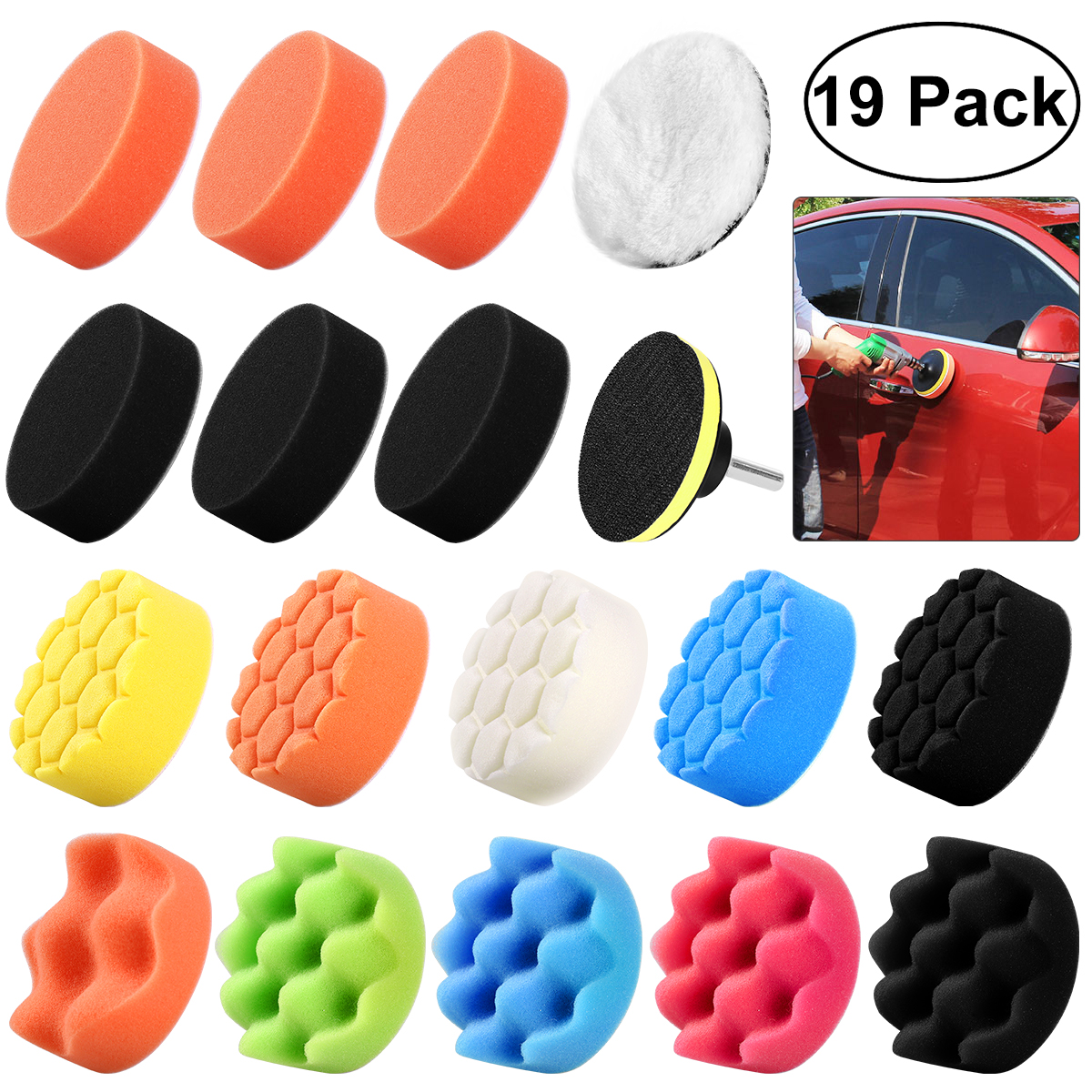 3in Buffing Waxing Sponge Polishing Pads Kit Set,For Car Polisher Drill