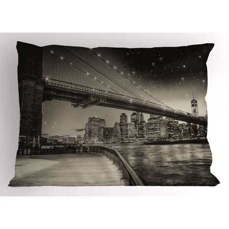 - New York Pillow Sham Summer Night in Manhattan Brooklyn Bridge Park River Waterfront Modern City, Decorative Standard Queen Size Printed Pillowcase, 30 X 20 Inches, Dark Sepia Black, by Ambesonne