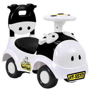 3-in-1 Sliding Car Pushing Cart Walker Toddlers Ride On Toy Baby Calf w  Sound White by
