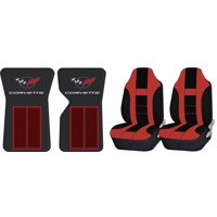 Official Licensed Corvette C3 68-82 Red Floor Mats & UAA Red/Black Universal High Back Front Seat Covers