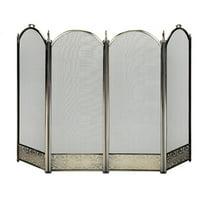 4 Fold Antique Brass Screen with Decorative Filigree