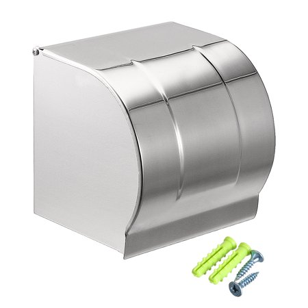 Uxcell 120mmx118mmx125mm Stainless Steel Wall-Mounted Toilet Paper Holder w