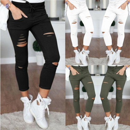 Multitrust Women's Ripped Jeans Denim Pencil Pants High Waist Stretch Long Trousers