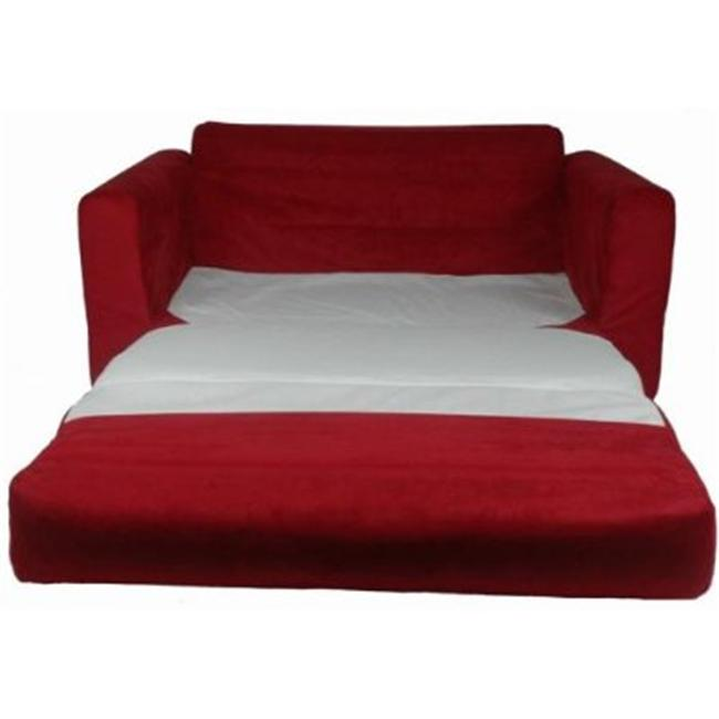 Fun Furnishings 11232 Red Micro Suede Sofa Sleeper with pillows