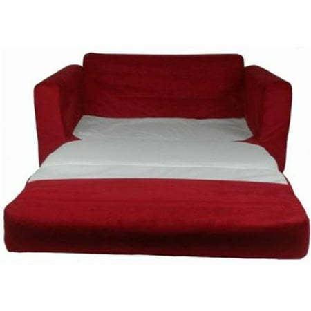 Fun furnishings 11232 red micro suede sofa sleeper with for Foam pull out sofa bed