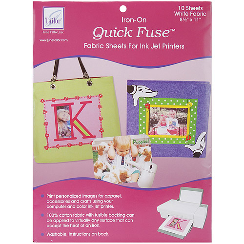Quick Fuse Iron-On Ink Jet Fabric Sheets, White, 10pk