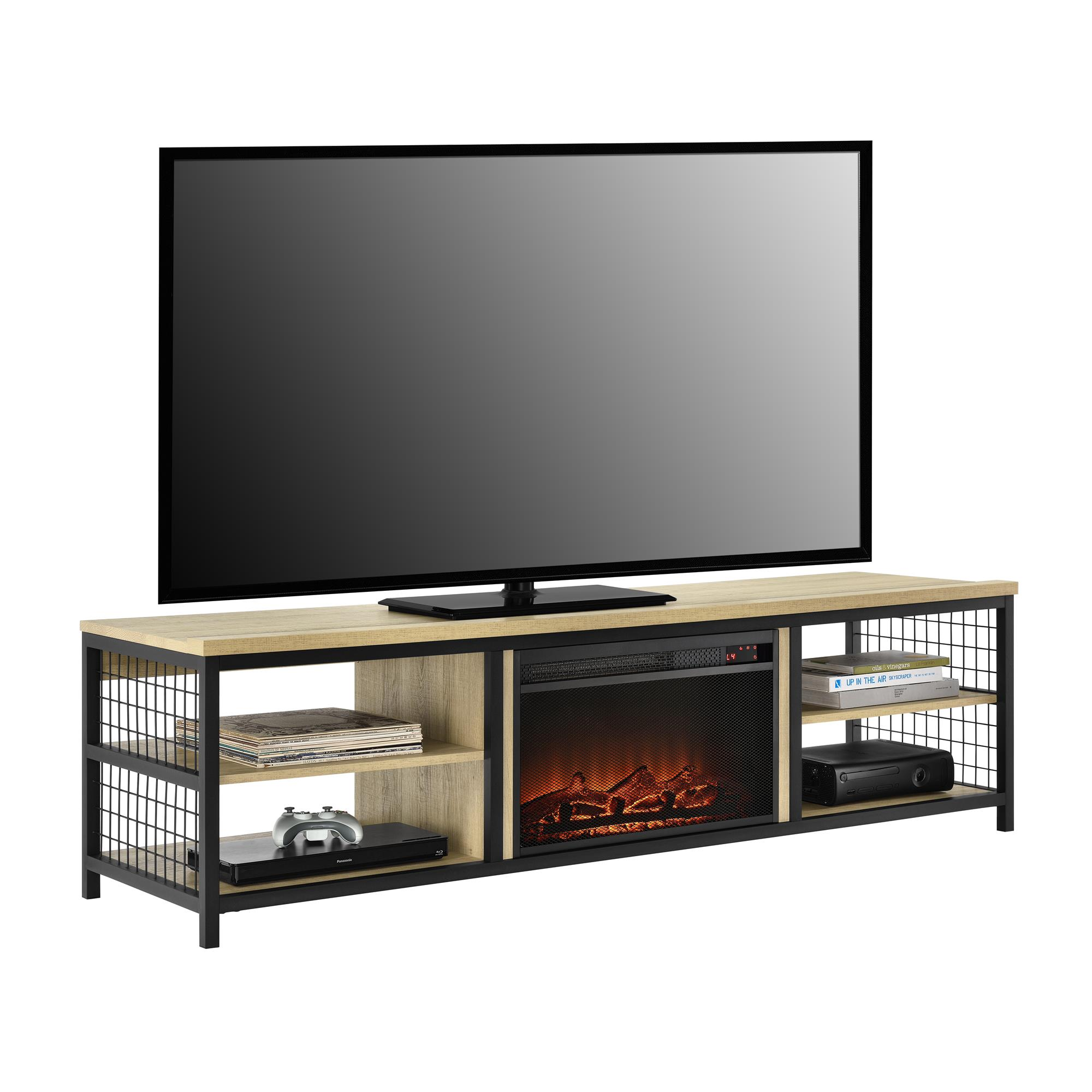 """Ameriwood Home Broadview TV Stand with Fireplace for TVs up to 75"""", Golden Oak"""