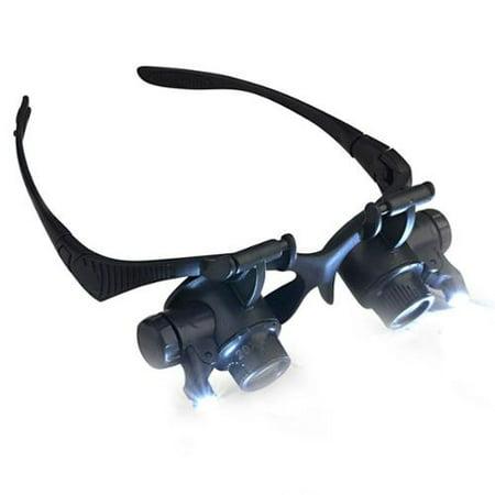insten 10x 20x magnifier magnifying led light glasses type eye glass. Black Bedroom Furniture Sets. Home Design Ideas