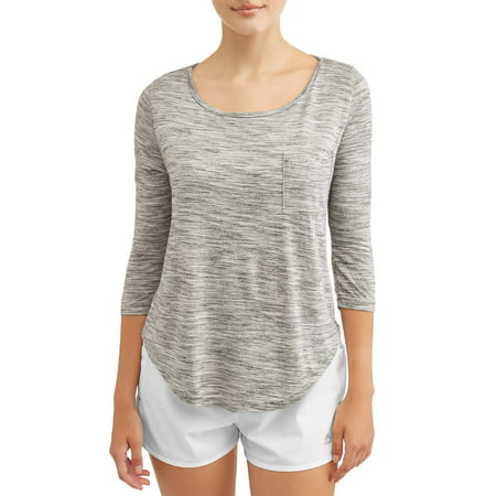 Women's Active 3/4 Sleeve Scoop Neck Top (Scoop Neck Empire Top)